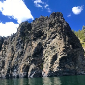 A bluff on the lake we lived at, Obsidian encrusted.